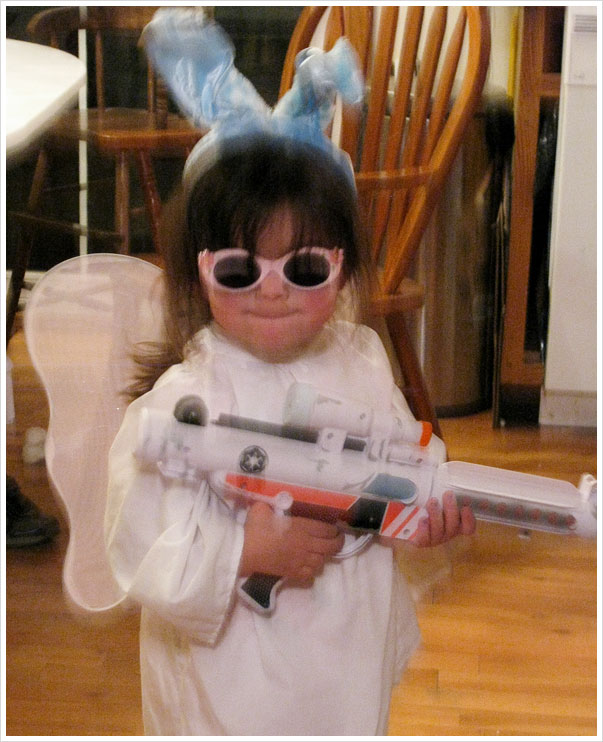 Easter Princess Leia Fairy with sun protection and Semi-Automatic weapon!